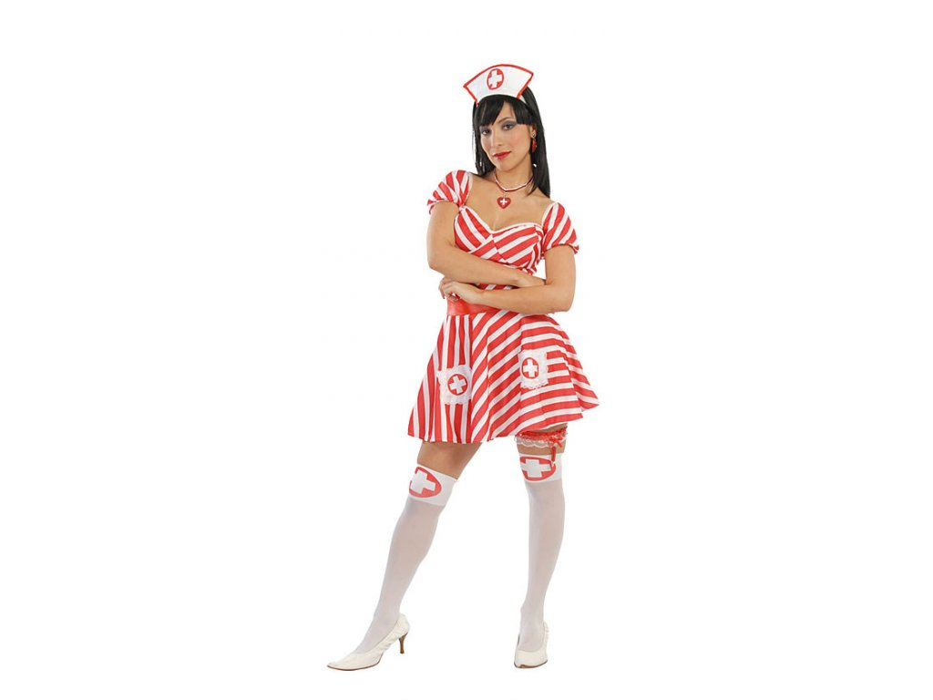 Sestřička sexy červeno-bílá - D  dámský karnevalový kostým