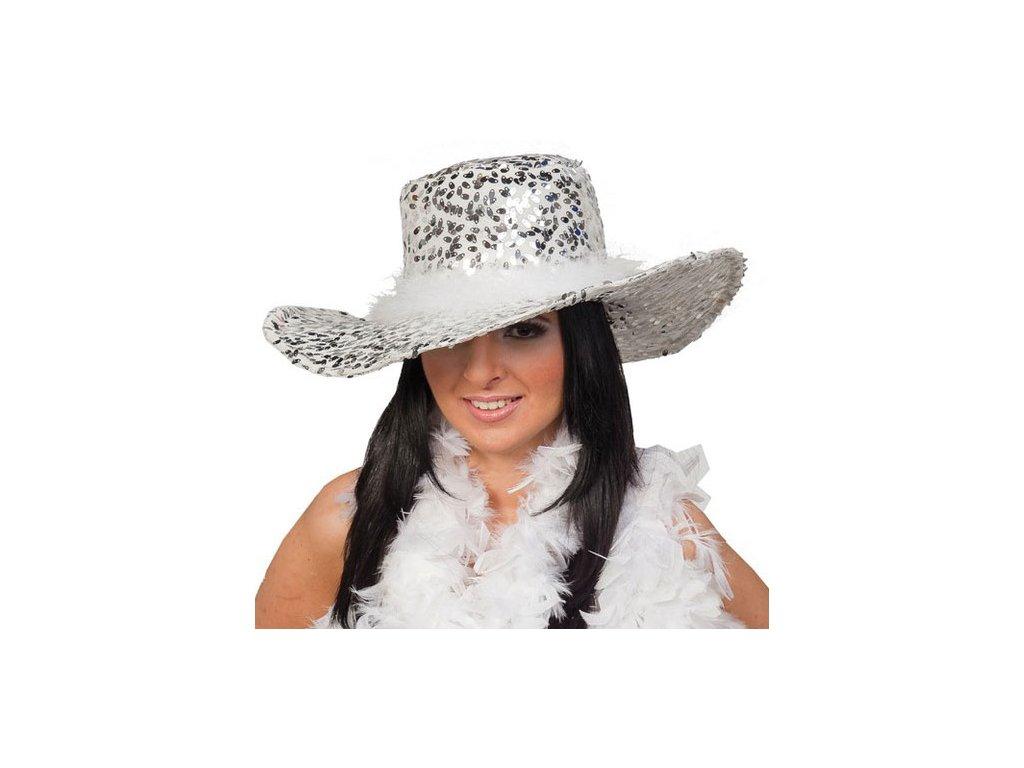 Dámský klobouk s flitry bílý D