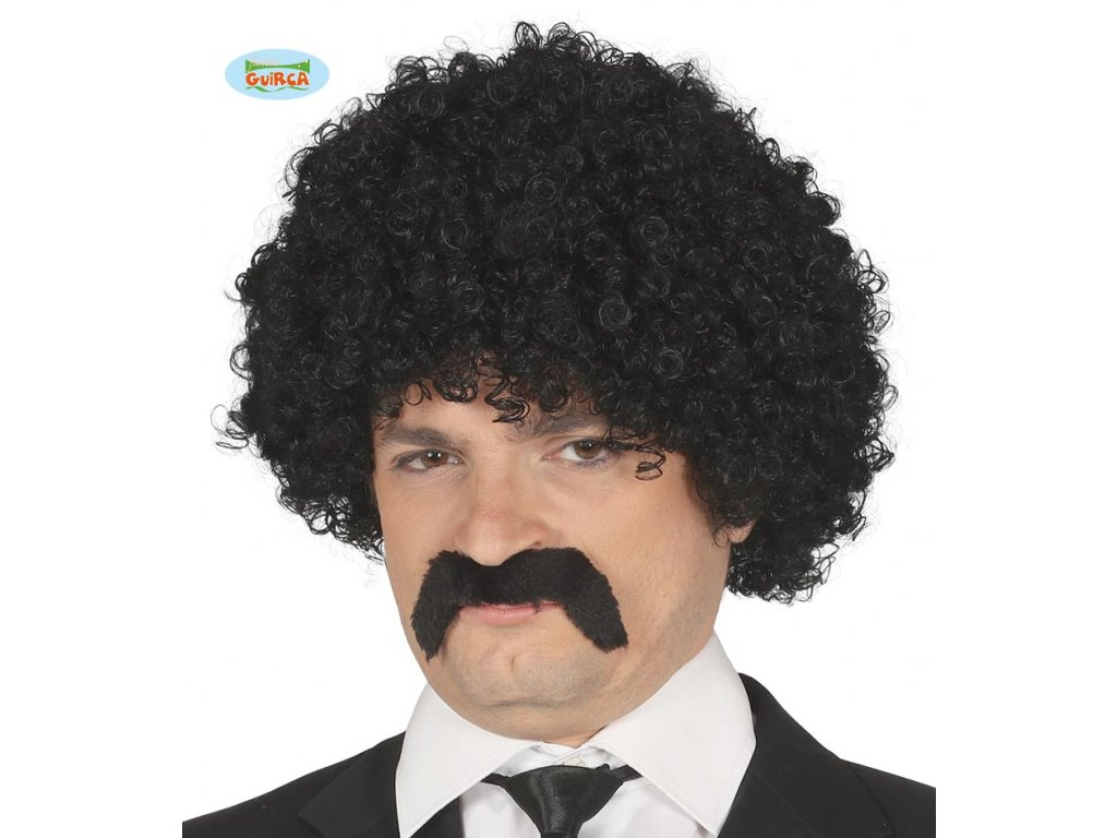 Pánská kadeřavá paruka a knírem - černá  Black curly wig with moustache in box