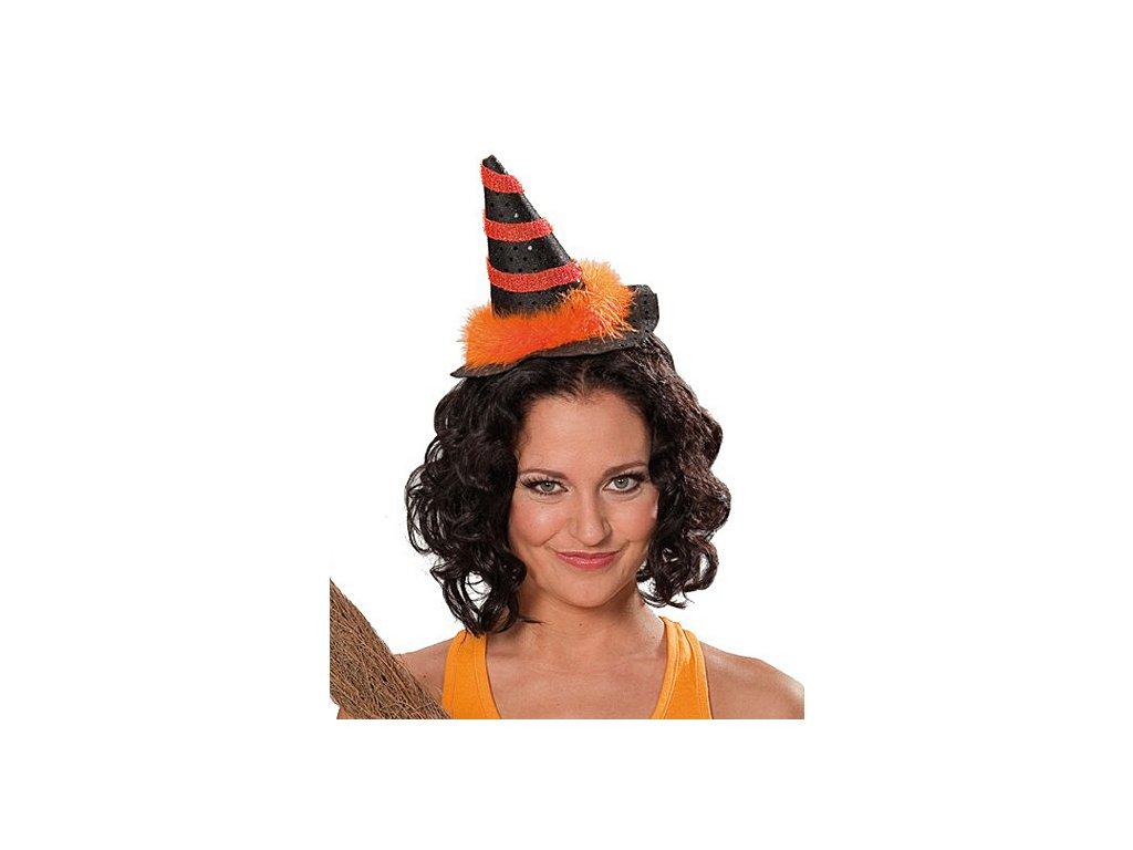 Čarodějnický mini s vlasovou sponou oranžový  dámský miniklobouček