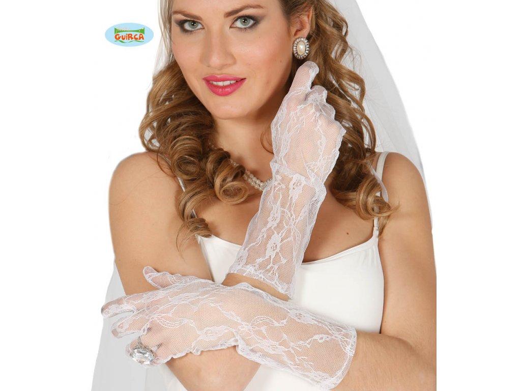 Rukavice krajkové bílé