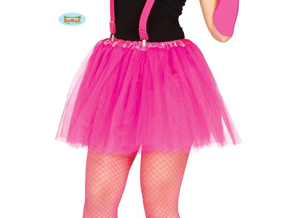 Dámská tylová sukně Tutu růžová neon 40 cm