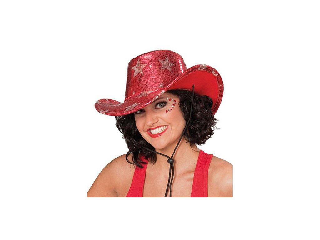 Kovbojský klobouk s hvězdami červený D