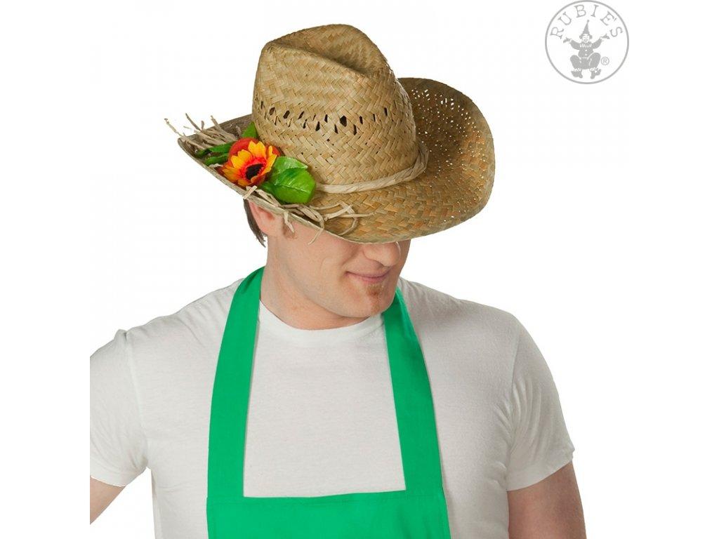 Slaměný klobouk zahradní s ozdoubou