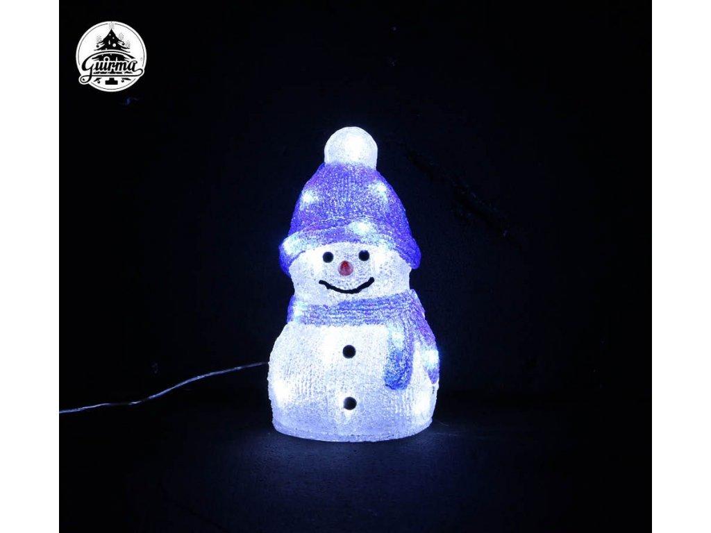 Svítící sněhulák 20 LED 15x15x25 cm