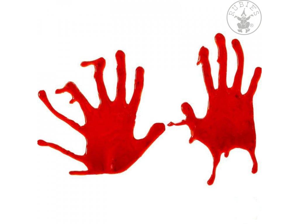 Dekorace na sklo - krvavé ruce D  dekorace Halloween