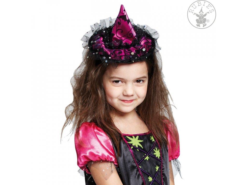 Čarodějnický klobouček na sponě  elegantní mini klobouček