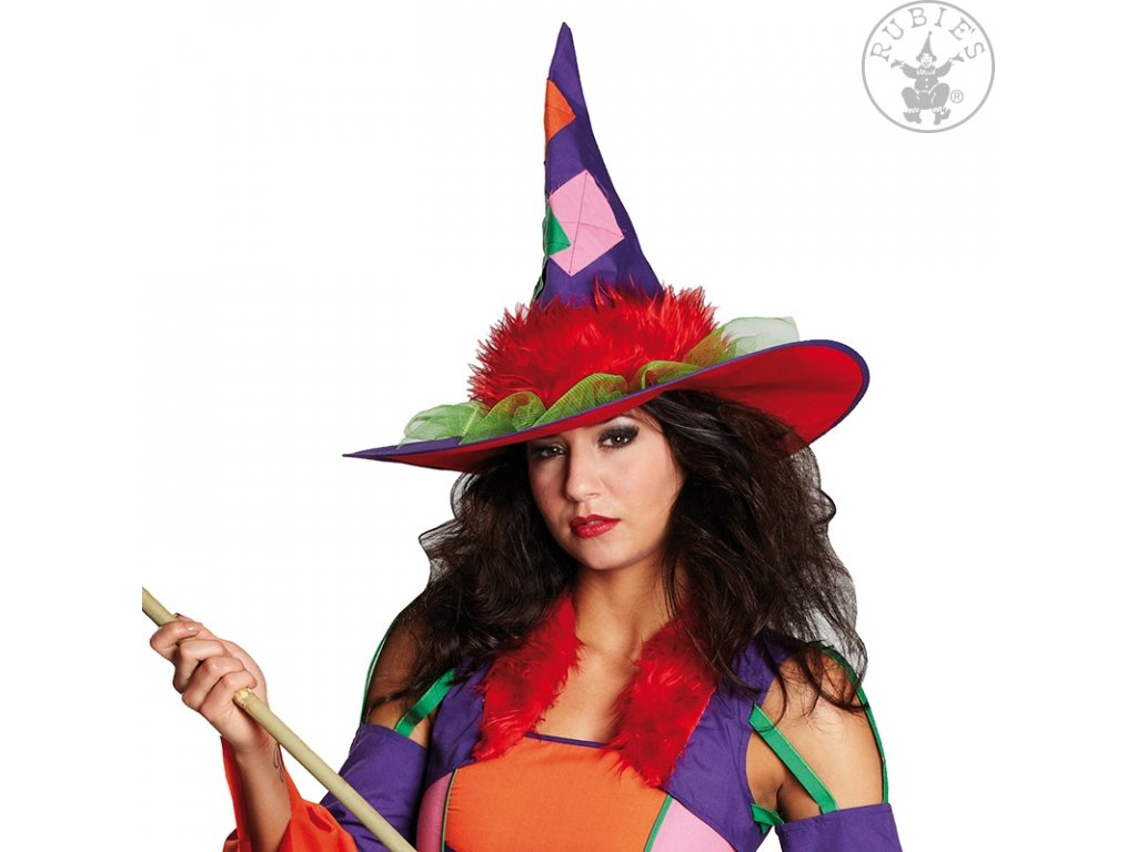 Čarodějnický klobouk Grazy Witch D  dámský pestrobarevný klobouk
