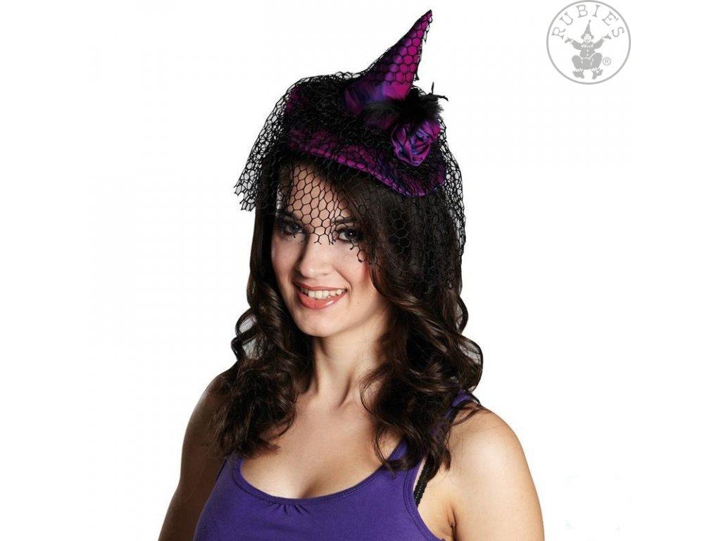 Čarodějnický klobouček s vlasovou sponou fialový  X  elegantní mini klobouček