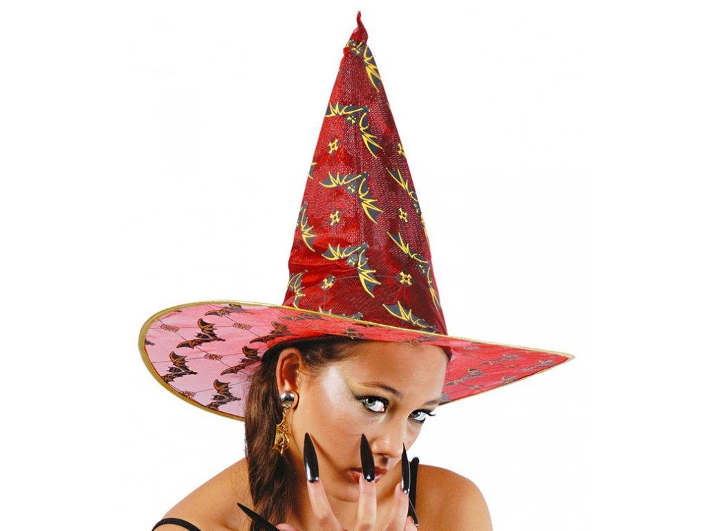 Čarodějnický klobouk červený s netopýry D