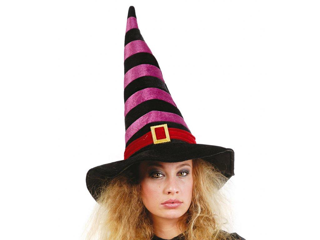 Čarodějnický klobouk černo - vínový D  dámský klobouk pro čarodějnice