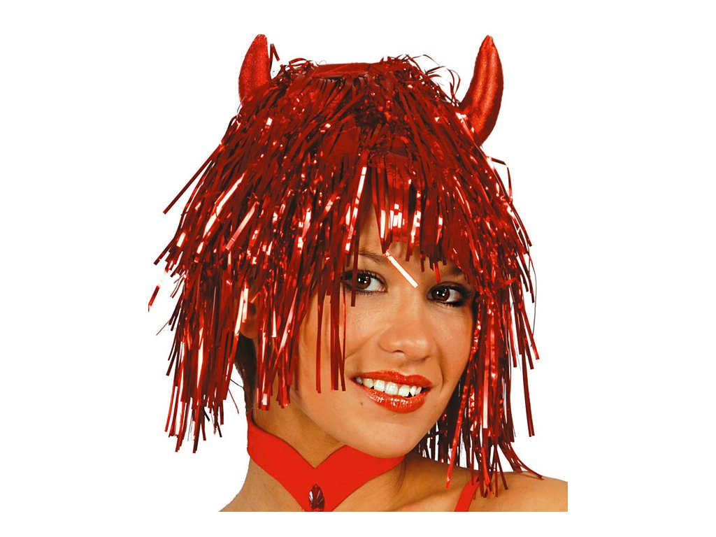 Paruka metalická červená s rohy D