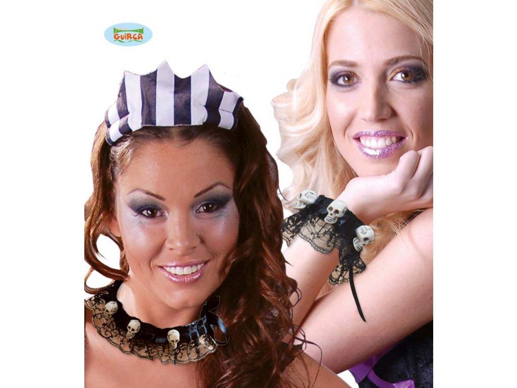 Set - náhrdelník  a braslet s lebkami  Halloween