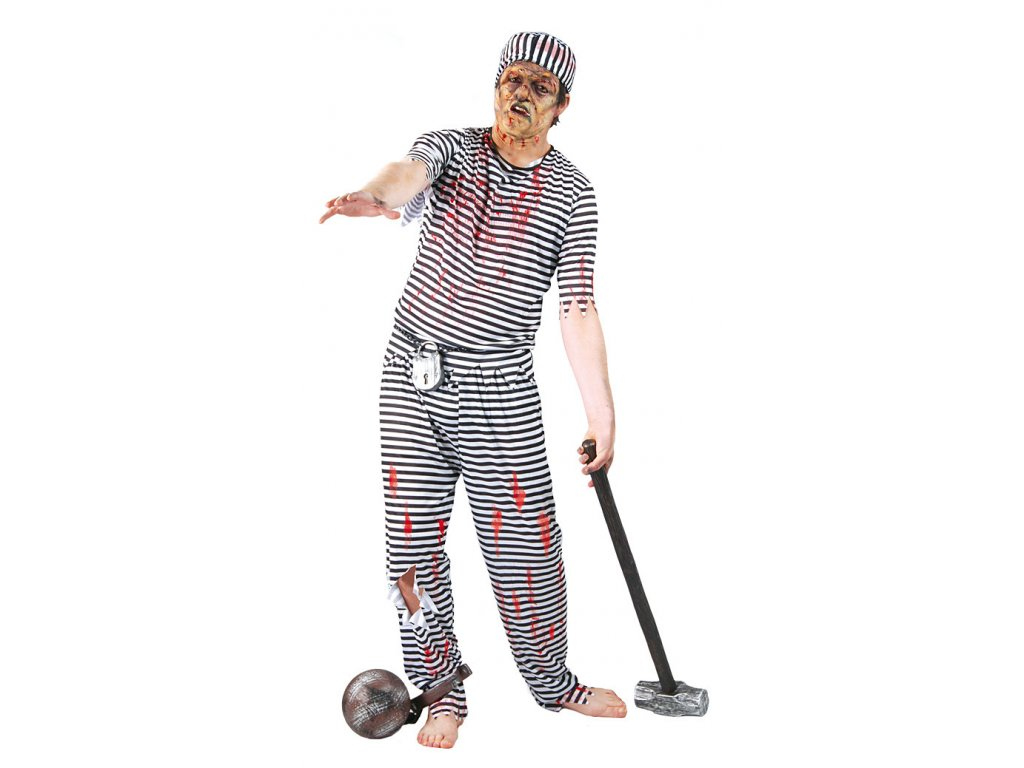 Kostým vězeň - ZOMBIE D  pánský strašidelný karnevalový kostým vhodný nejen na Halloween