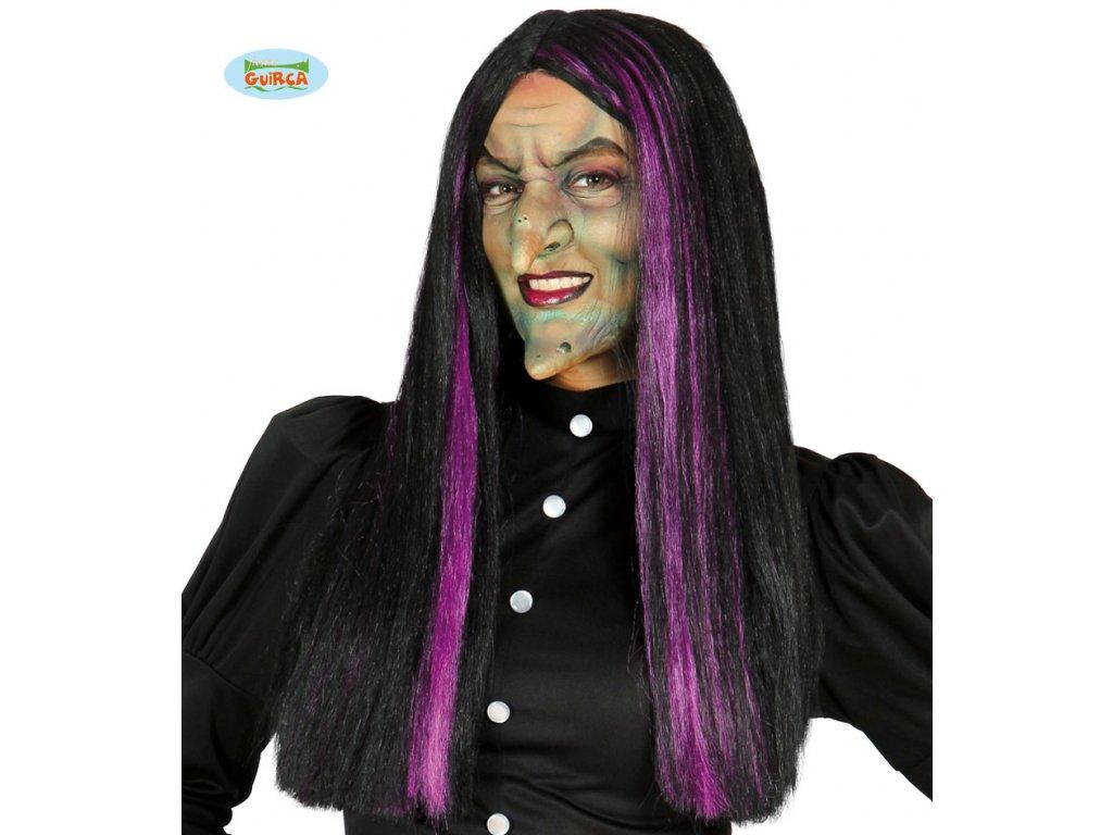 Paruka čarodějnice černo-fialová x