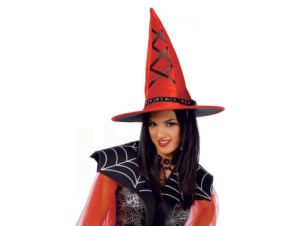 Červený čarodějnický klobouk D  dámský klobouk pro čarodějnice
