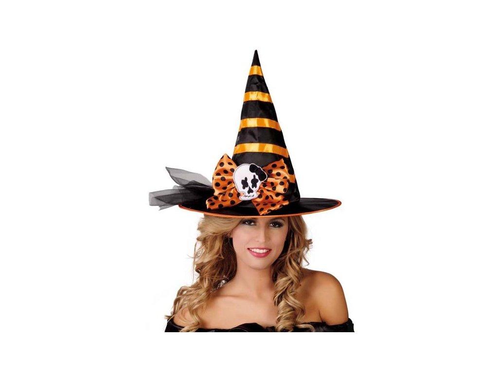 Černo-oranžový čarodějnický klobouk D  dámský klobouk pro čarodějnice