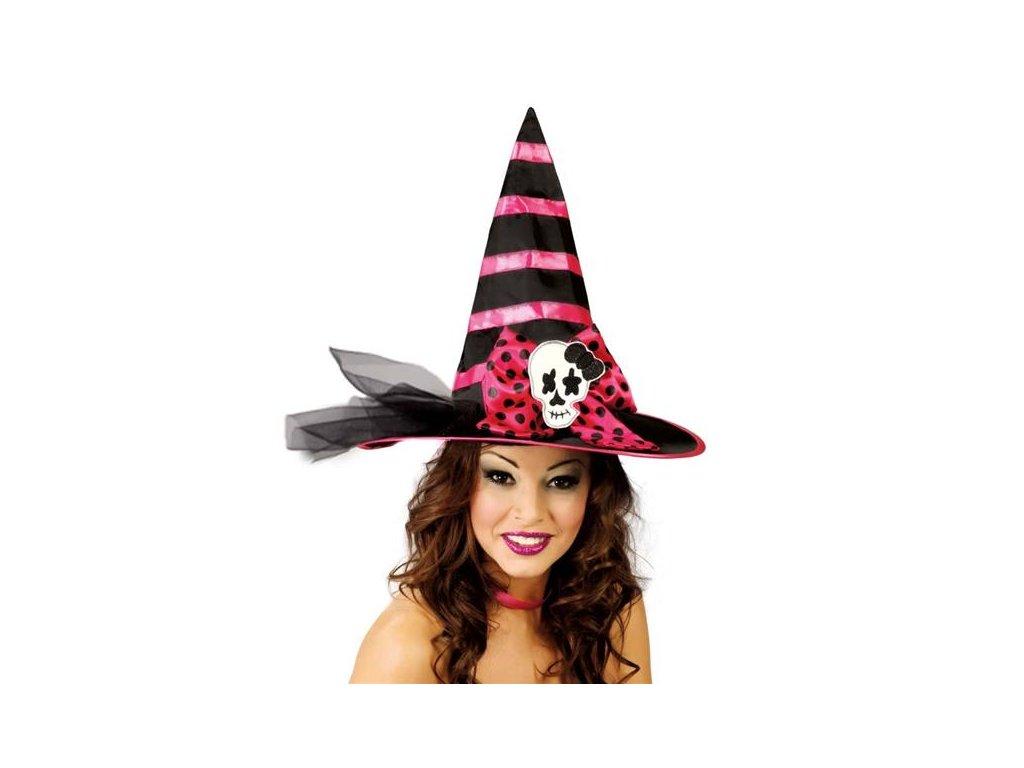 Černo-růžový čarodějnický klobouk D  dámský klobouk pro čarodějnice