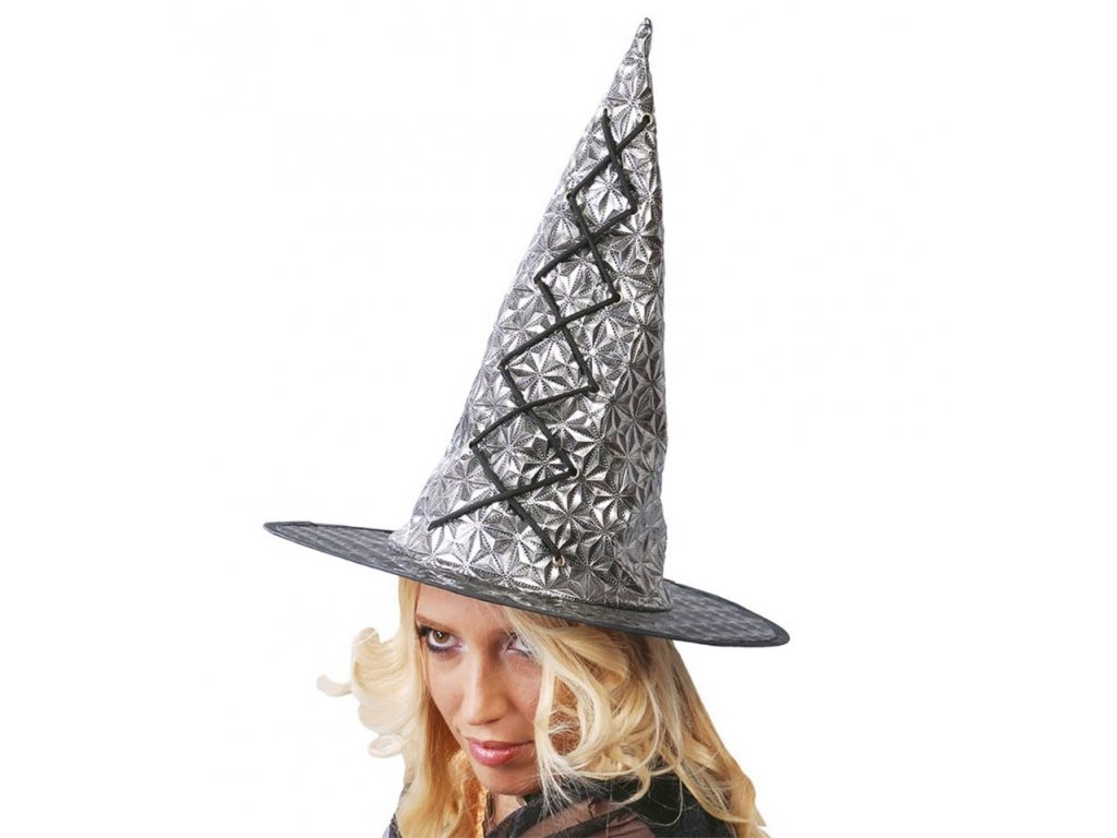 Čarodějnický klobouk stříbrný D  dámský šedostříbrný klobouk