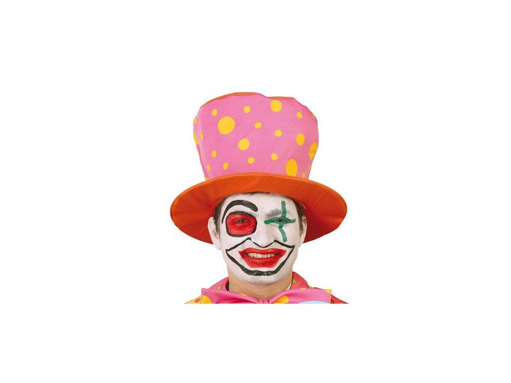 Klaunský klobouk oranžovo-růžový