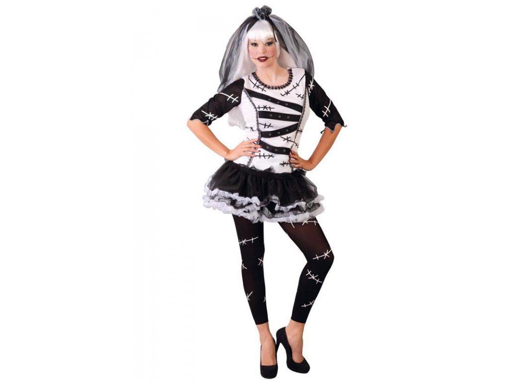 Kostým nevěsta MONSTER  dámský karnevalový kostým vhodný nejen na Halloween