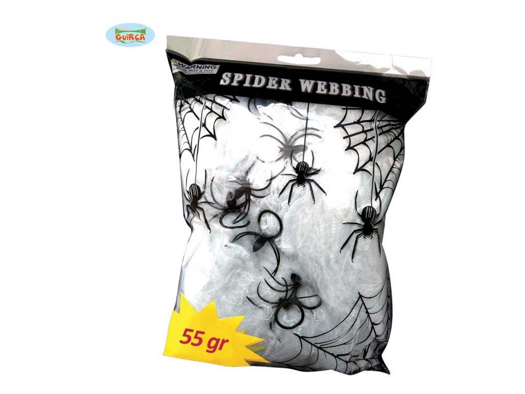Fluoreskující pavučina 55 gr D  dekorace Halloween