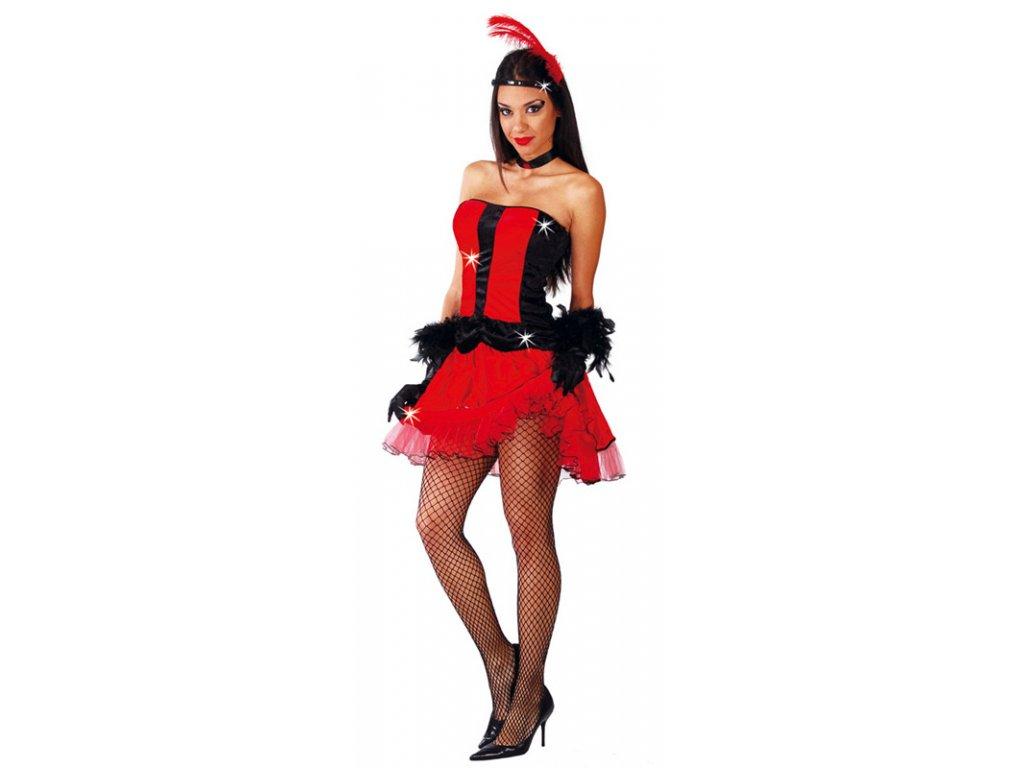 CAN CAN - šaty červené D  dámský karnevalový kostým