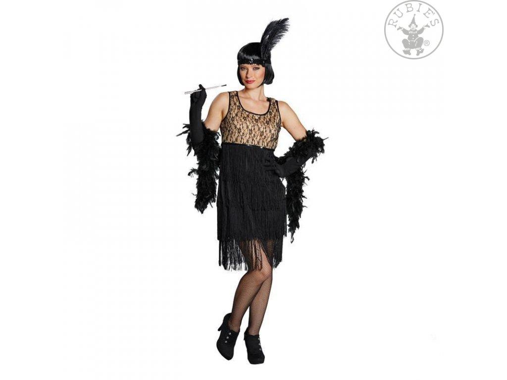 Charleston Gilrl černo-béžové šaty  dámský karnevalový kostým