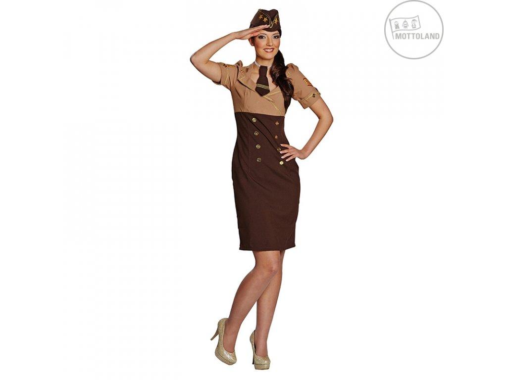 Starsister - kostým s kravatou a čepicí - hnědý  dámský karnevalový kostým