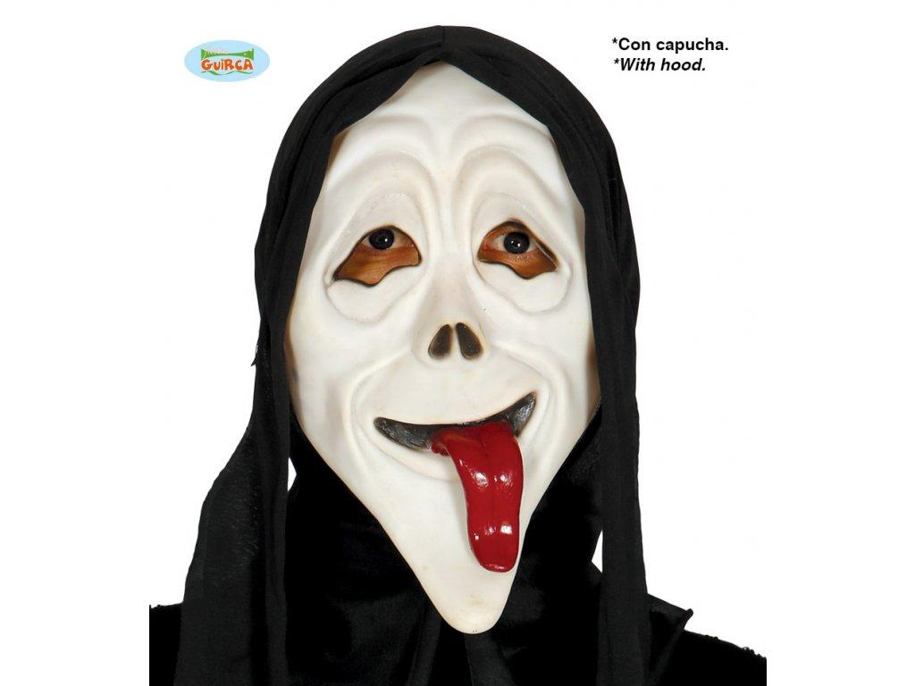 Maska vřískot s vyplazeným jazykem  Halloween