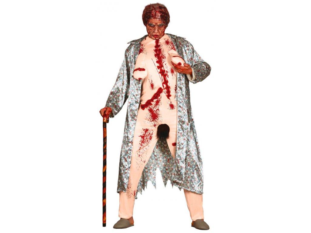 Bláznivá bába - zombie D  vtipný pánský karnevalový kostým vhodný nejen na Halloween