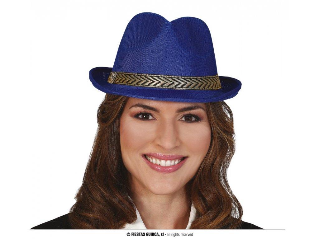 Klobouk gangster modrý