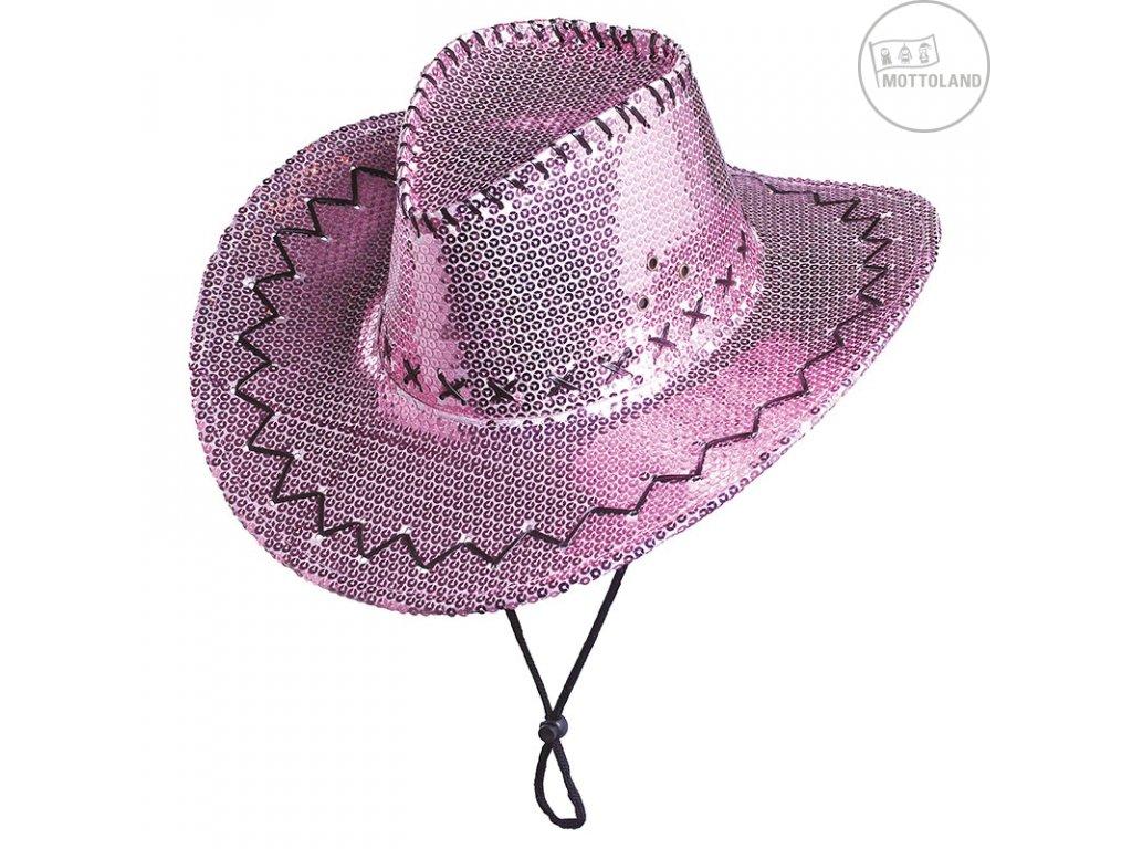Flitrový klobouk kovbojský růžový