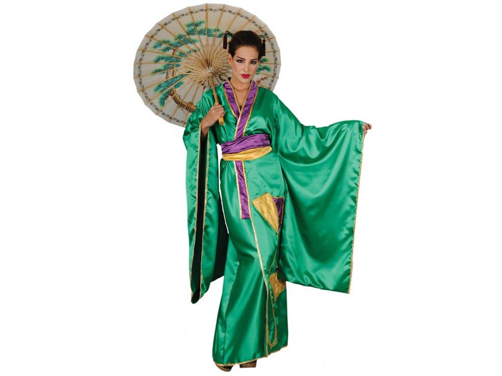 Kimono zelené  dámský karnevalový kostým