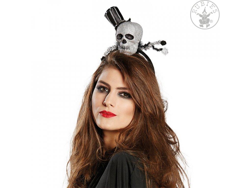 Dámský klobouček - Smrtka na sponě  Halloween