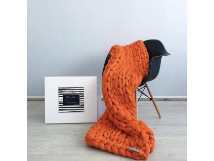 Merino Vlněná Deka Orange 75x130cm  + textilní rouška ke každé objednávce zdarma