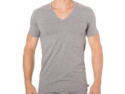 Diesel Tričko Pánské Šedé S Véčkovým Výstřihem S  + textilní rouška ke každé objednávce zdarma