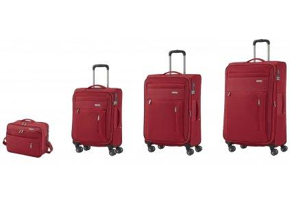 Travelite Capri 4w S,M,L Red – sada 3 kufrů + BB