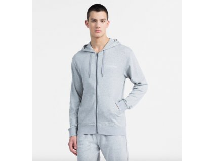 Calvin Klein Mikina CK Na Zip Pánská Šedá  + textilní rouška ke každé objednávce zdarma