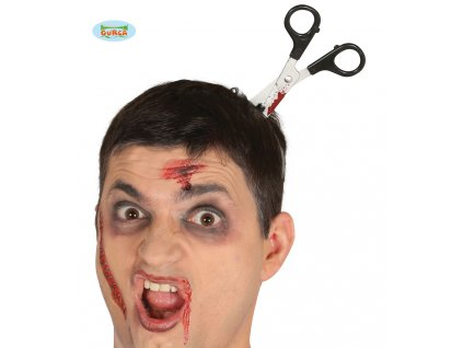 Imitace poranění hlavy - zakrvácené nůžky na čelence