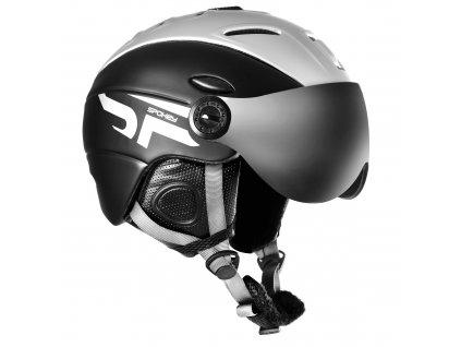 Spokey MONTANA lyžařská přilba s čelním sklem, černá, vel. S-XL