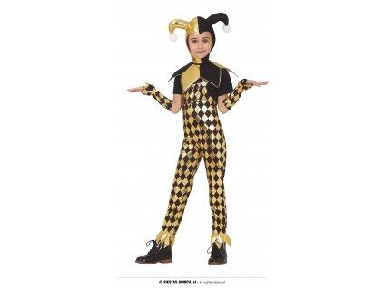 Glitter klaun Harley Quinn dětský kostým černozlatý