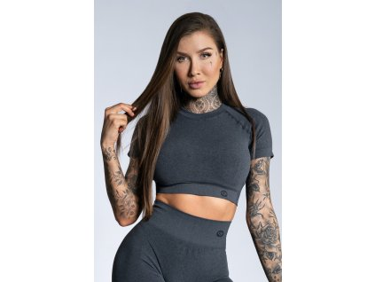 Gym Glamour Crop-Top s krátkým rukávem Dark grey ombre XS