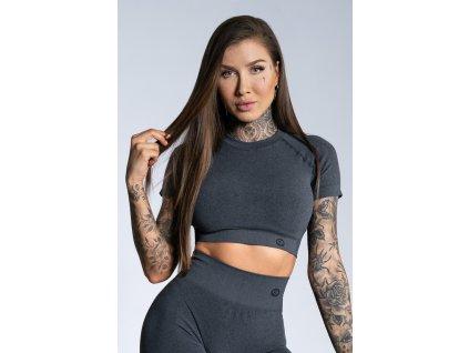 Gym Glamour Crop-Top s krátkým rukávem Dark grey ombre M