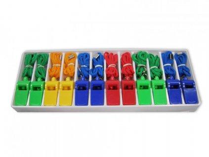 Píšťalky plastové se šnůrkou - SET 12ks