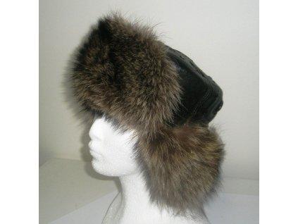 Kožešinová čepice ušanka mývala kombinovaná kůží MAKSIMA 58cm v obvodu