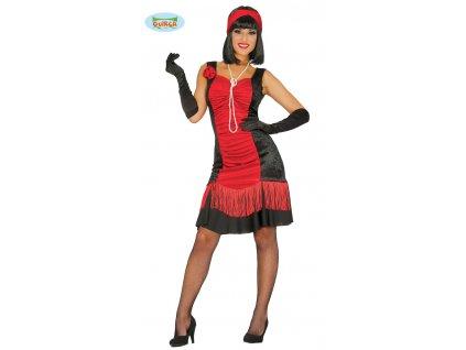 Charlestonové šaty černo-červené 44 - 46