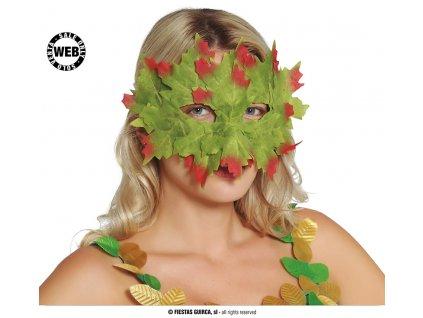 Maska/škraboška listy zelené