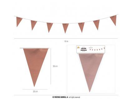 Párty girlanda vlaječky 20x30cm zlatorůžová