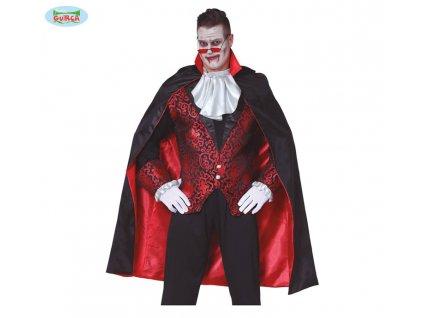 Plášť červeno-černý s límcem  pánský karnevalový kostým